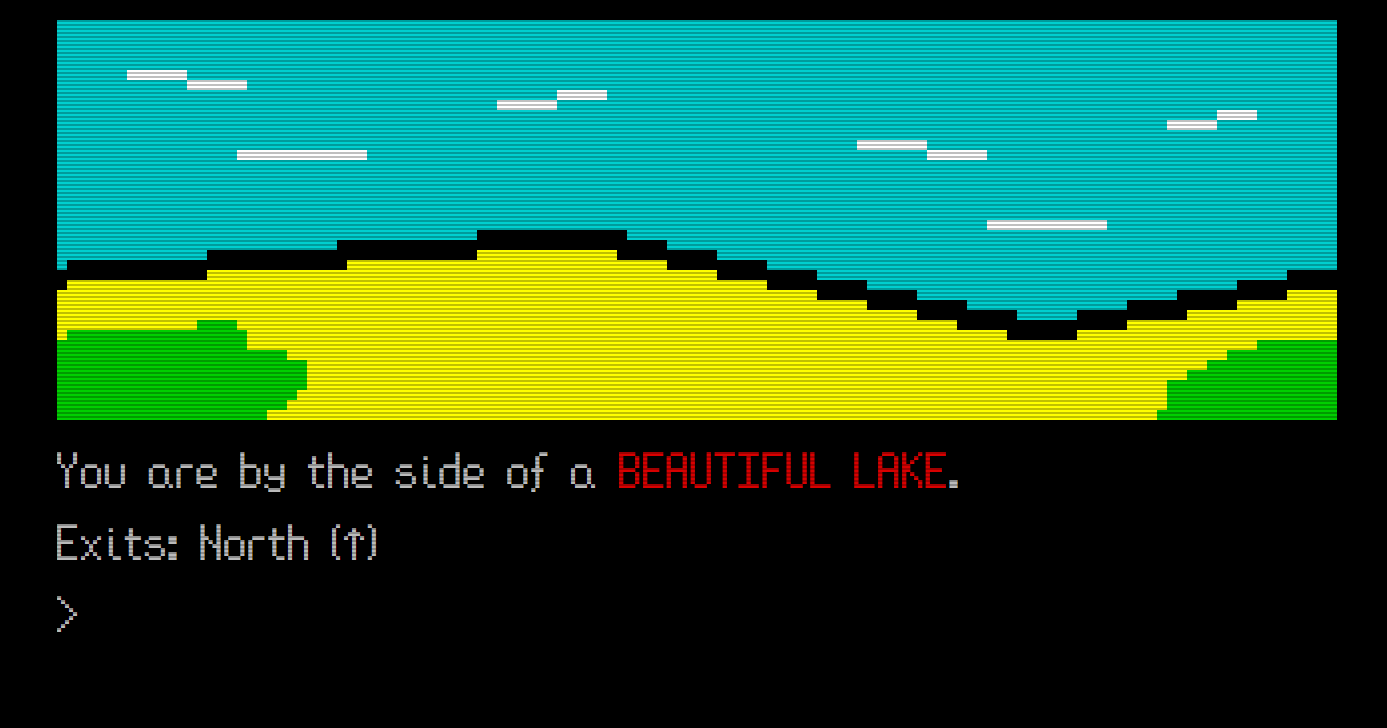 An image of a text adventure game, showing a location that describes a beautiful lake and an exit to the north.
