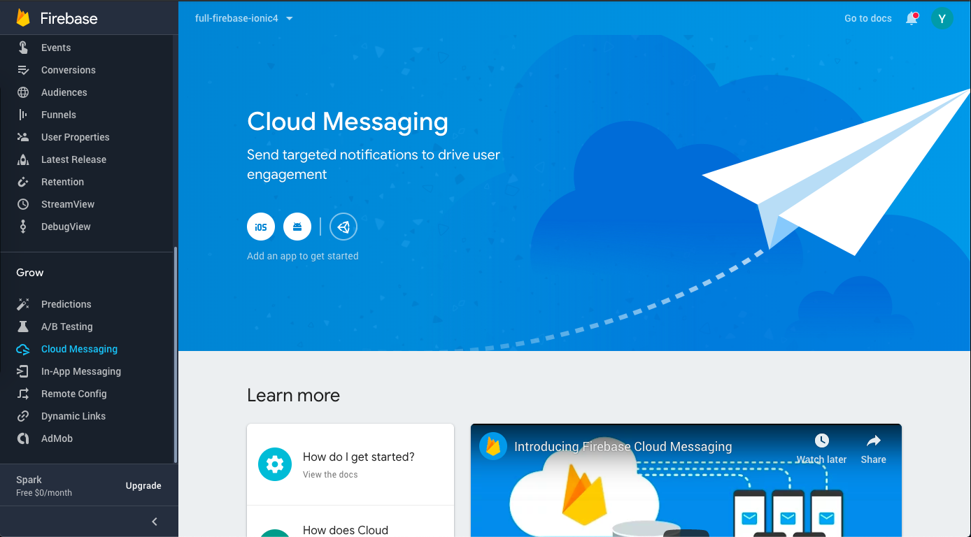 Cloud messaging section of Firebase console—You can send push notifications from here