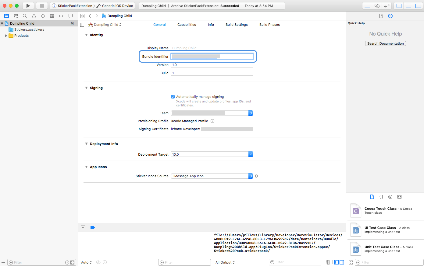 Xcode with Bundle ID suffix selected