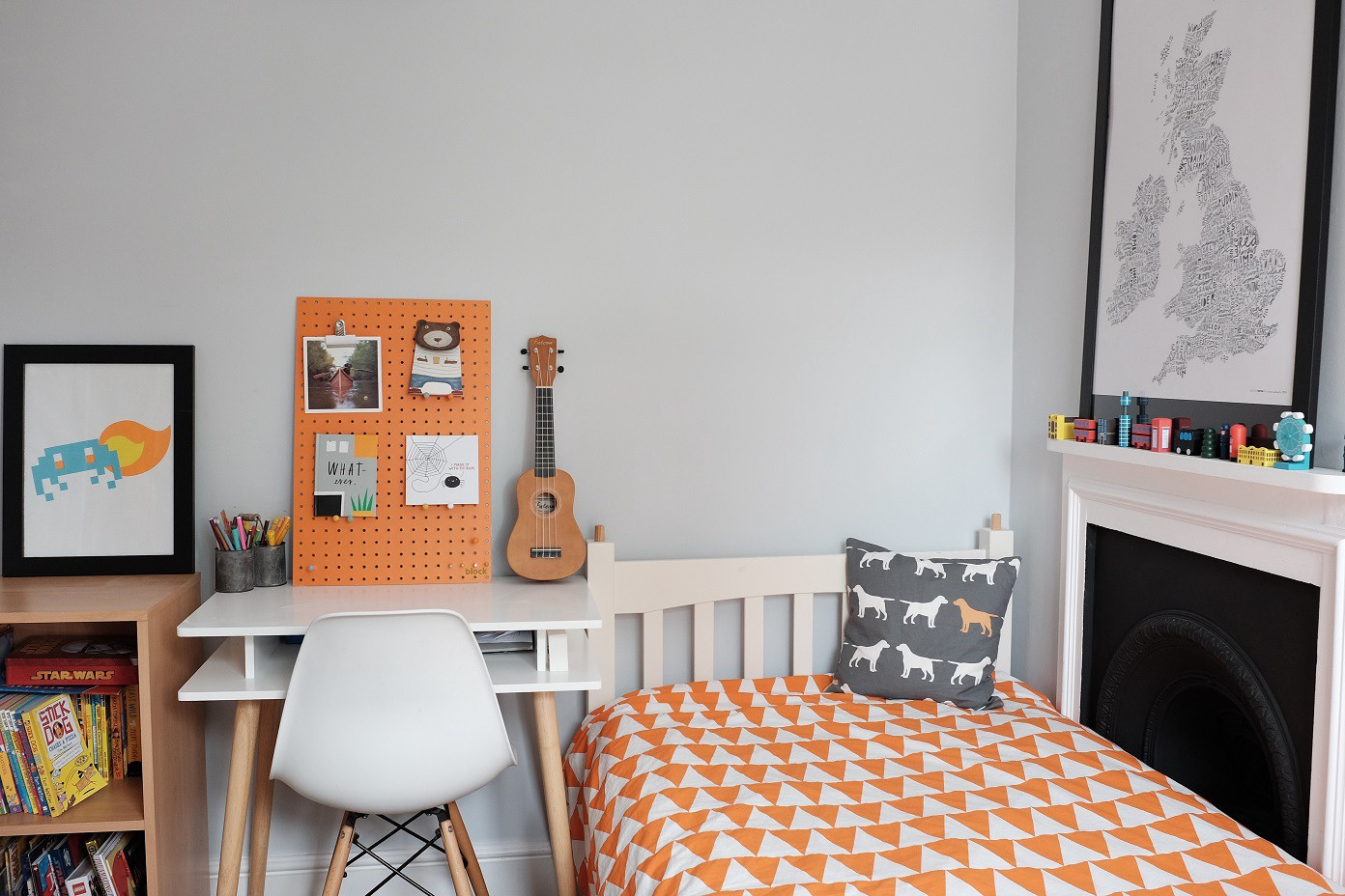 Grey Orange & White Cool Colours for an Older Boys Bedroom