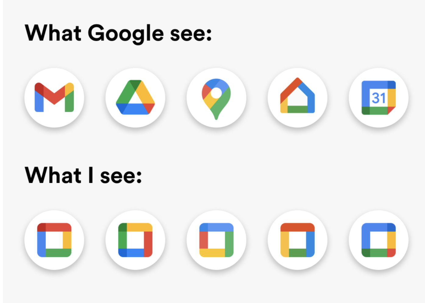 Google's new icons on top with square boxes beneath them to depict that all icons look basically the same now