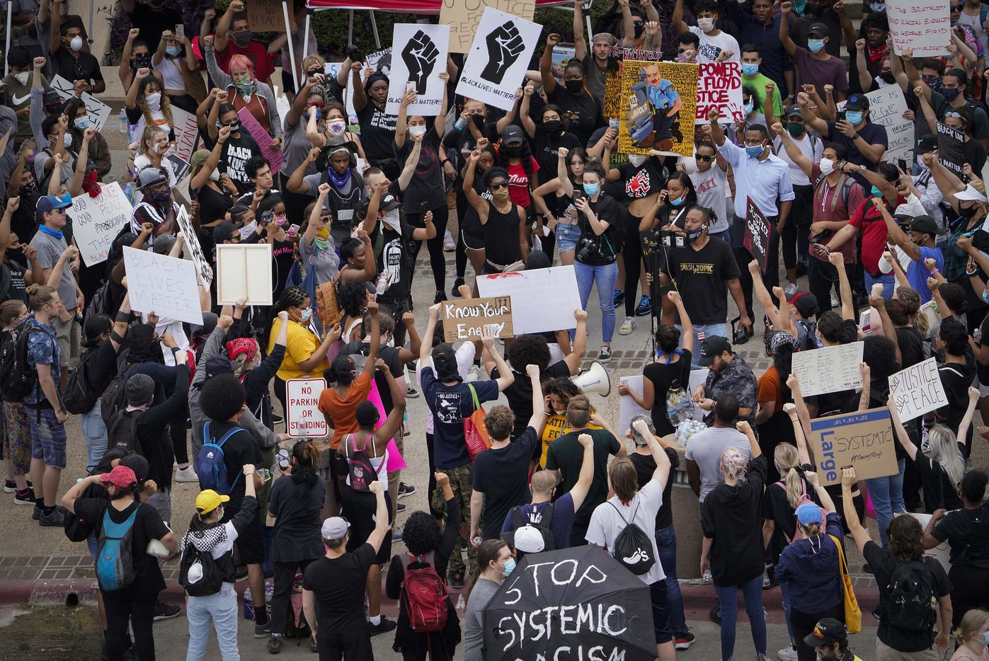 Protesters in Dallas, Texas demonstrating against police violence and racial injustice.