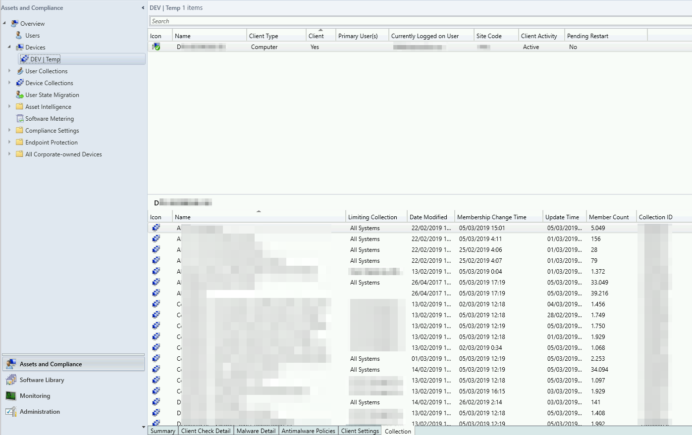 Extend the SCCM Console to show Collection Membership using