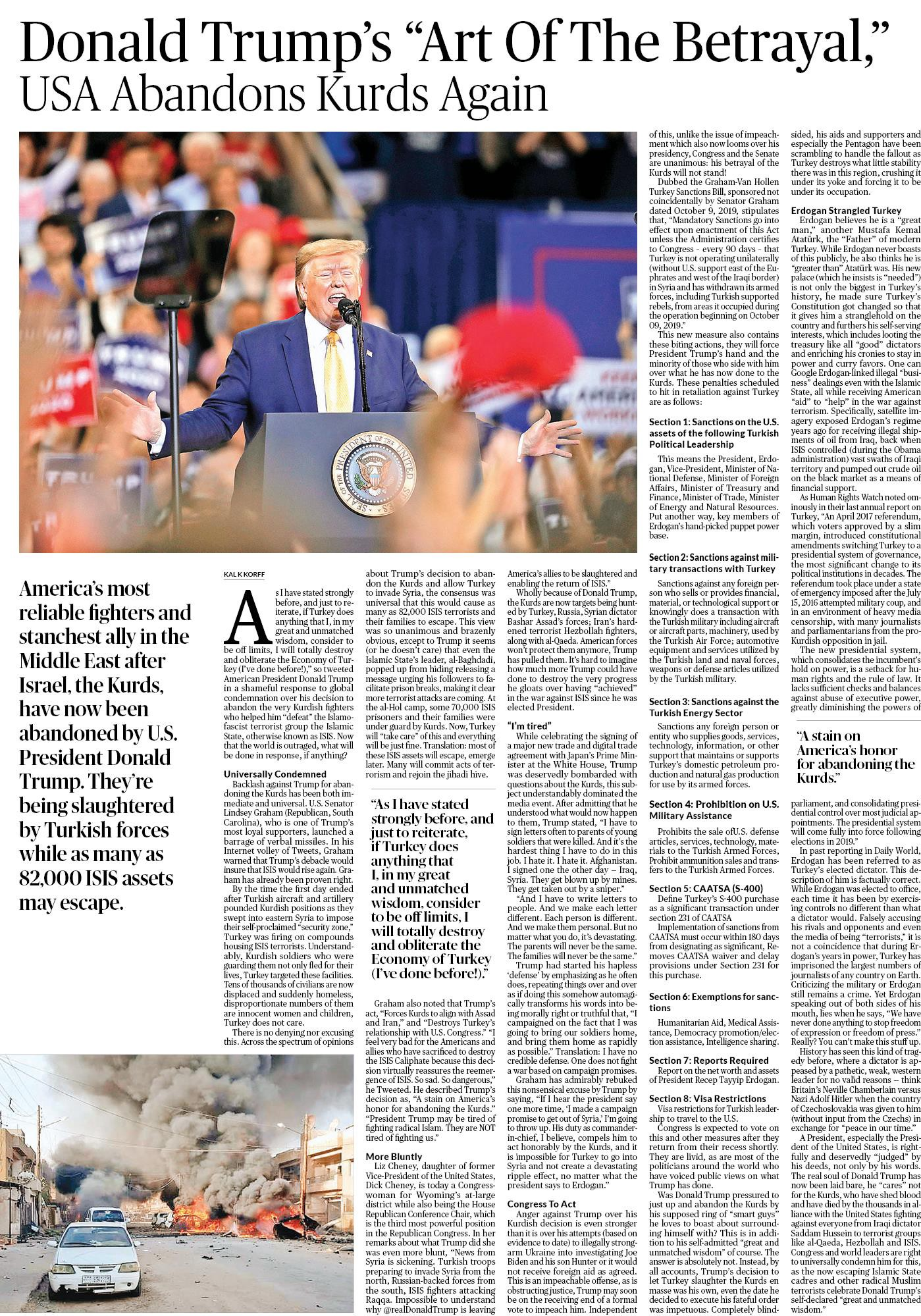 Daily World, Oct 13, 2019 Full Page Speical Sunday edition. Written by Kal K. Korff. Exposes betrayal of Kurds by Trump.