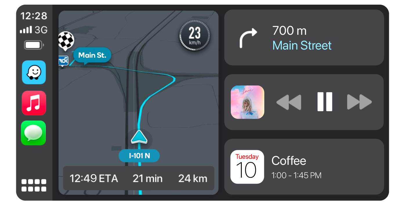 With Waze on the CarPlay Dashboard, drivers can see their directions, music and calendars at the same time.