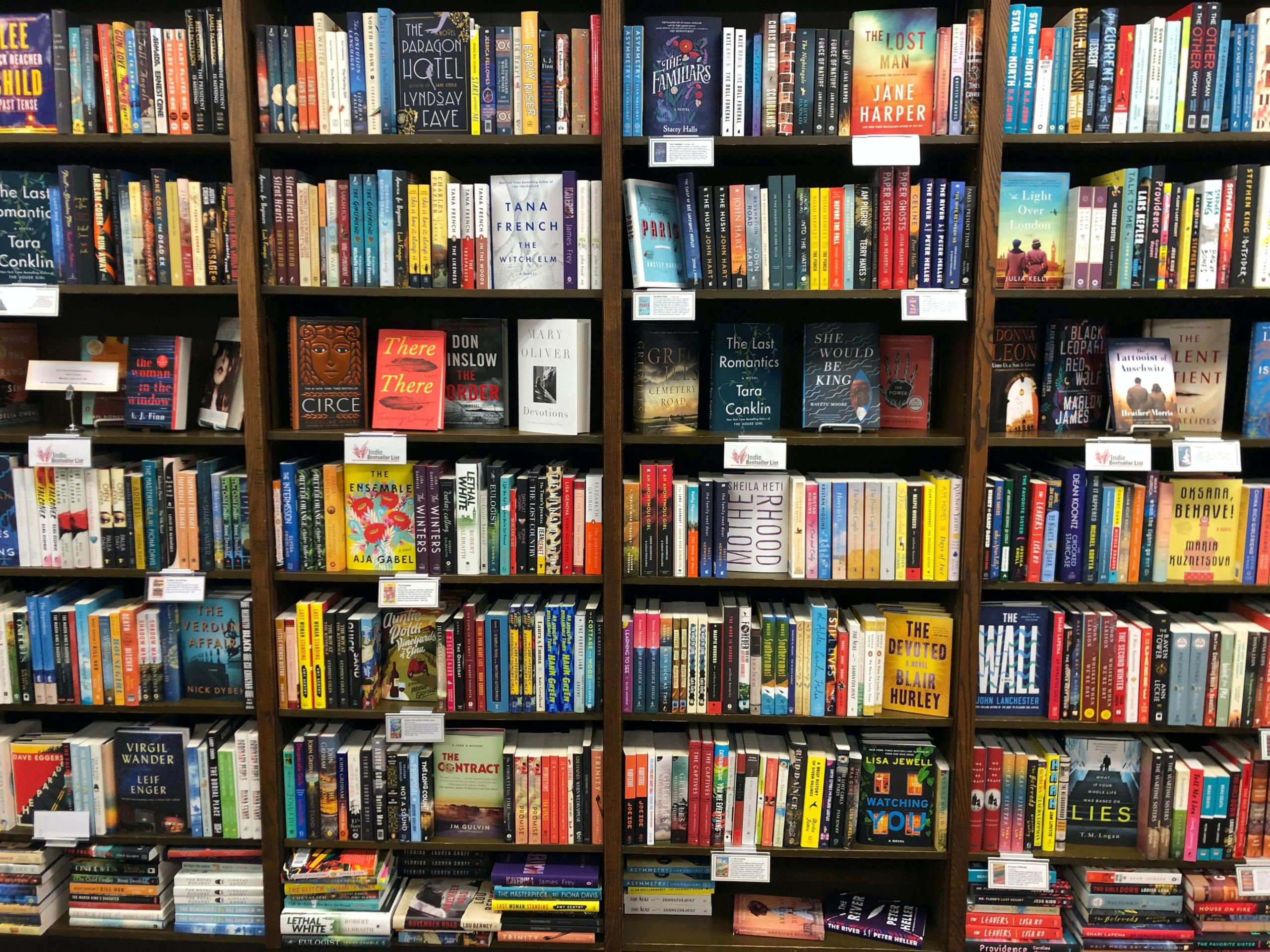 Bookstore bookcase filled with books.