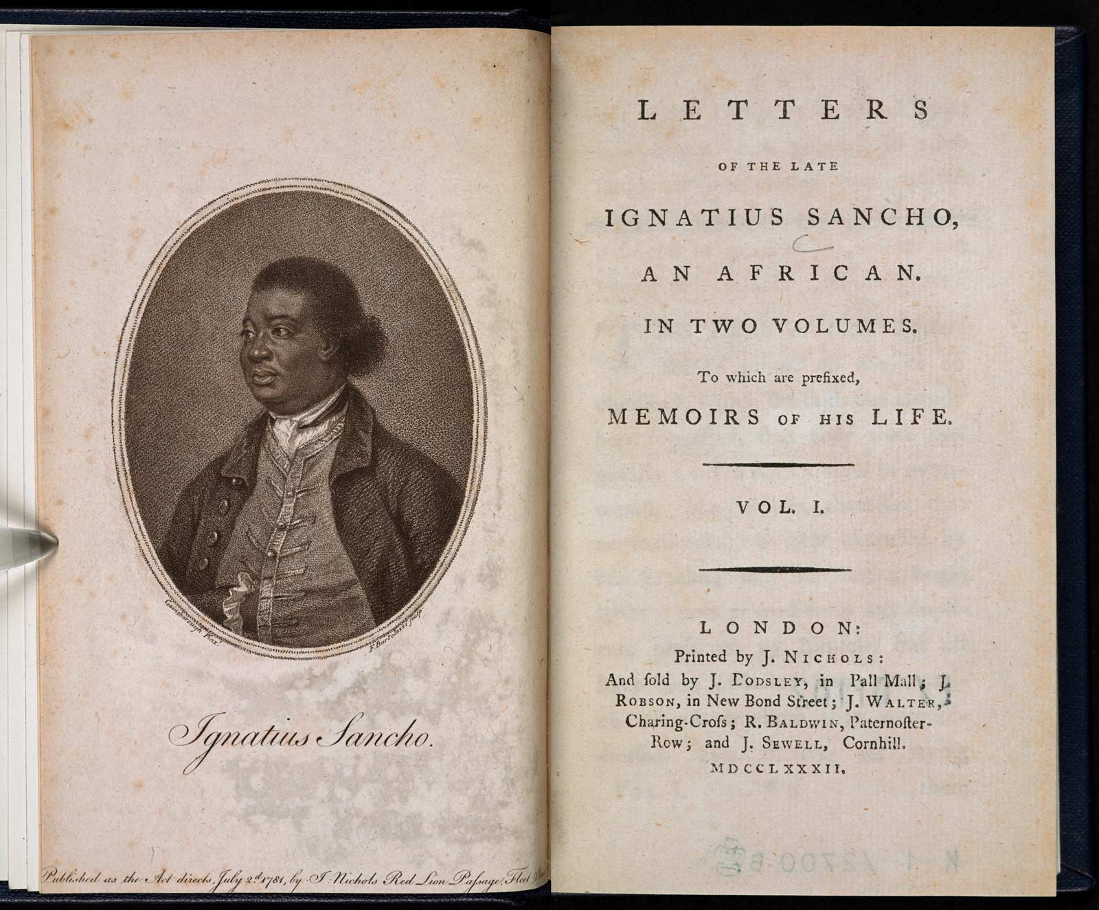 Frontispiece and title-page to The Letters of the Late Ignatius Sancho, published posthumously in London, 1782.