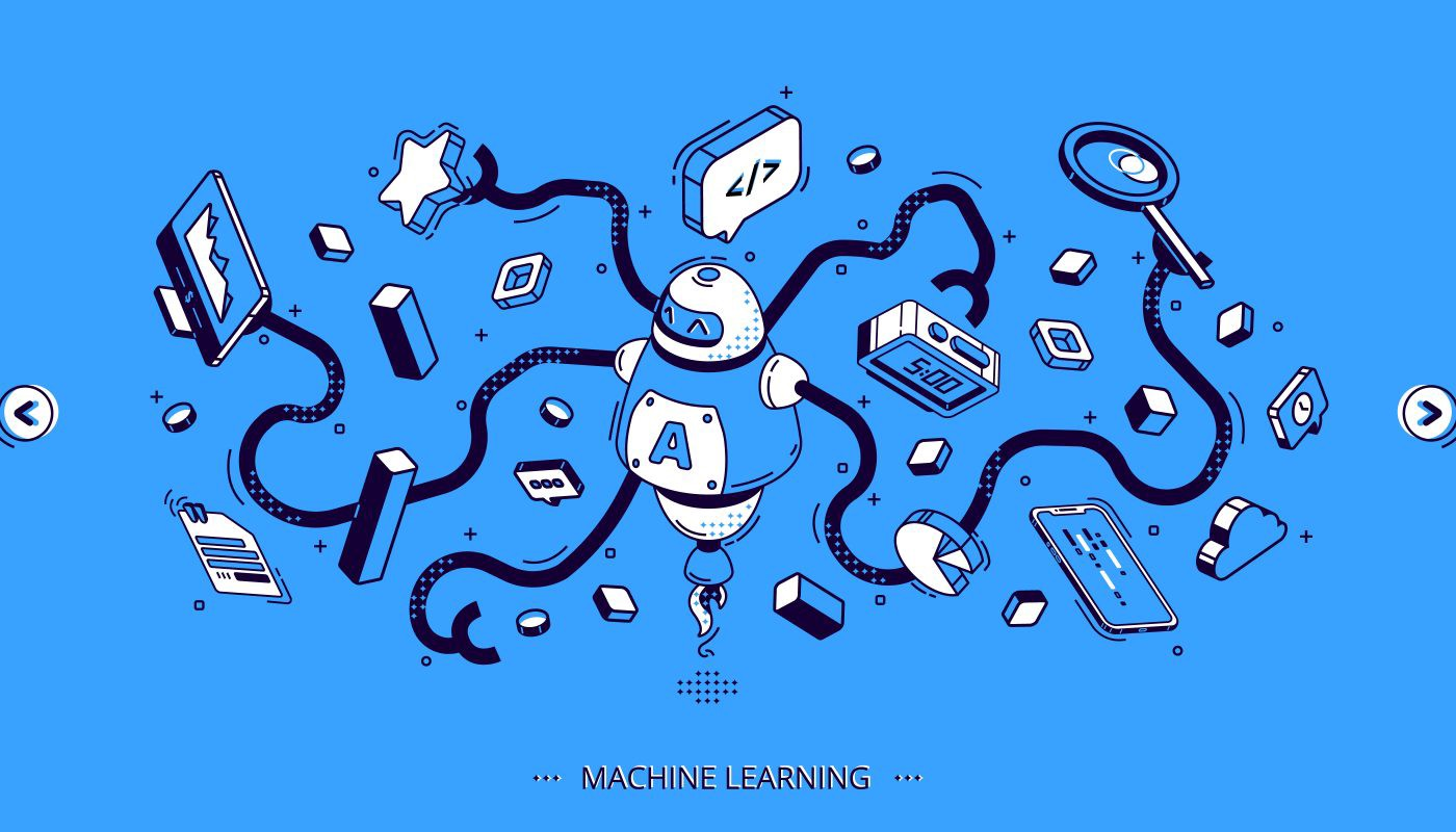 Machine learning isometric banner, artificial intelligence science, computer algorithm. Octopus robot with many hands hold