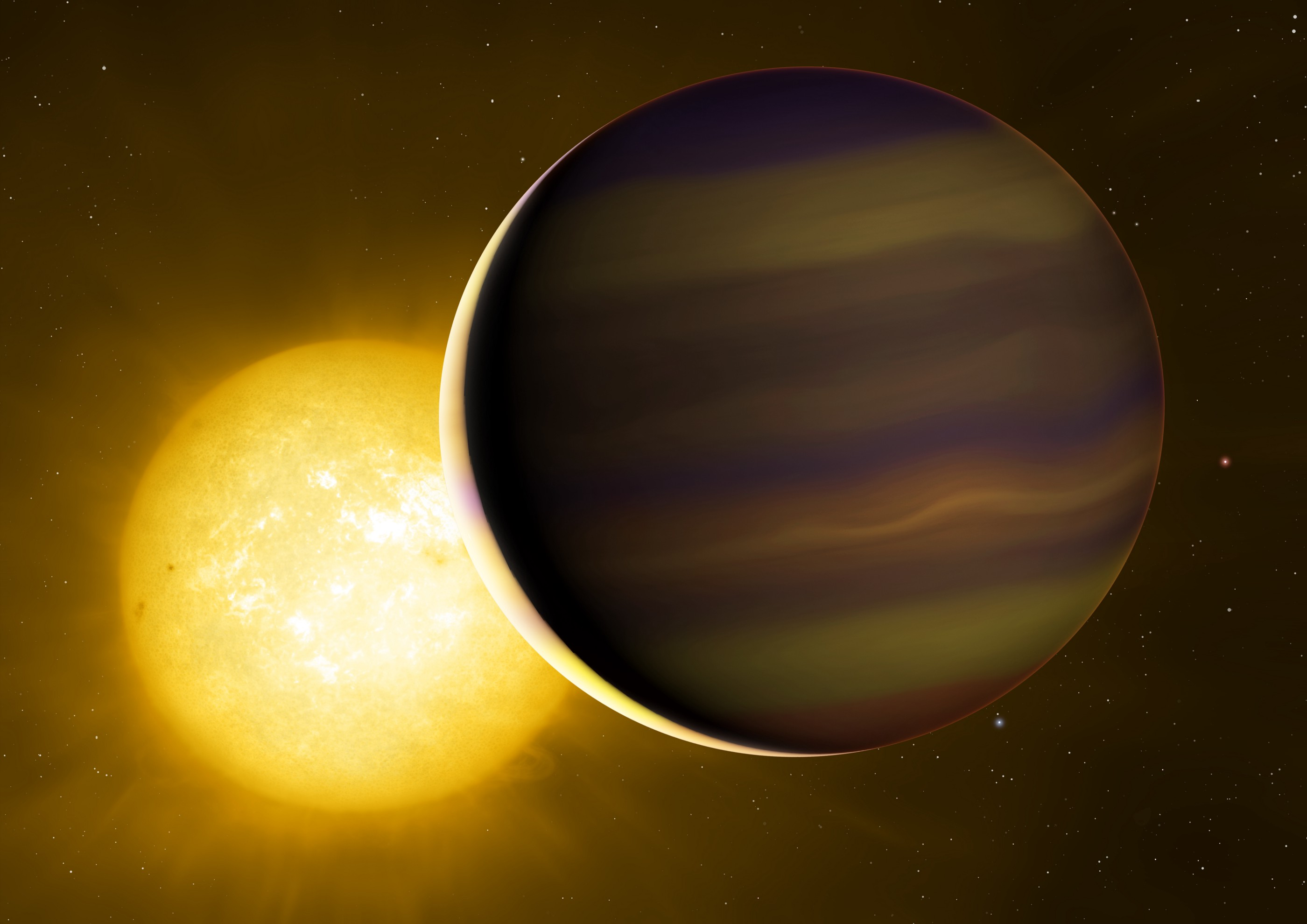 Artist's impression of a hot Jupiter exoplanet transiting in front of a yellow star, with the trailing edge of the planet's atmosphere lit by the starlight.