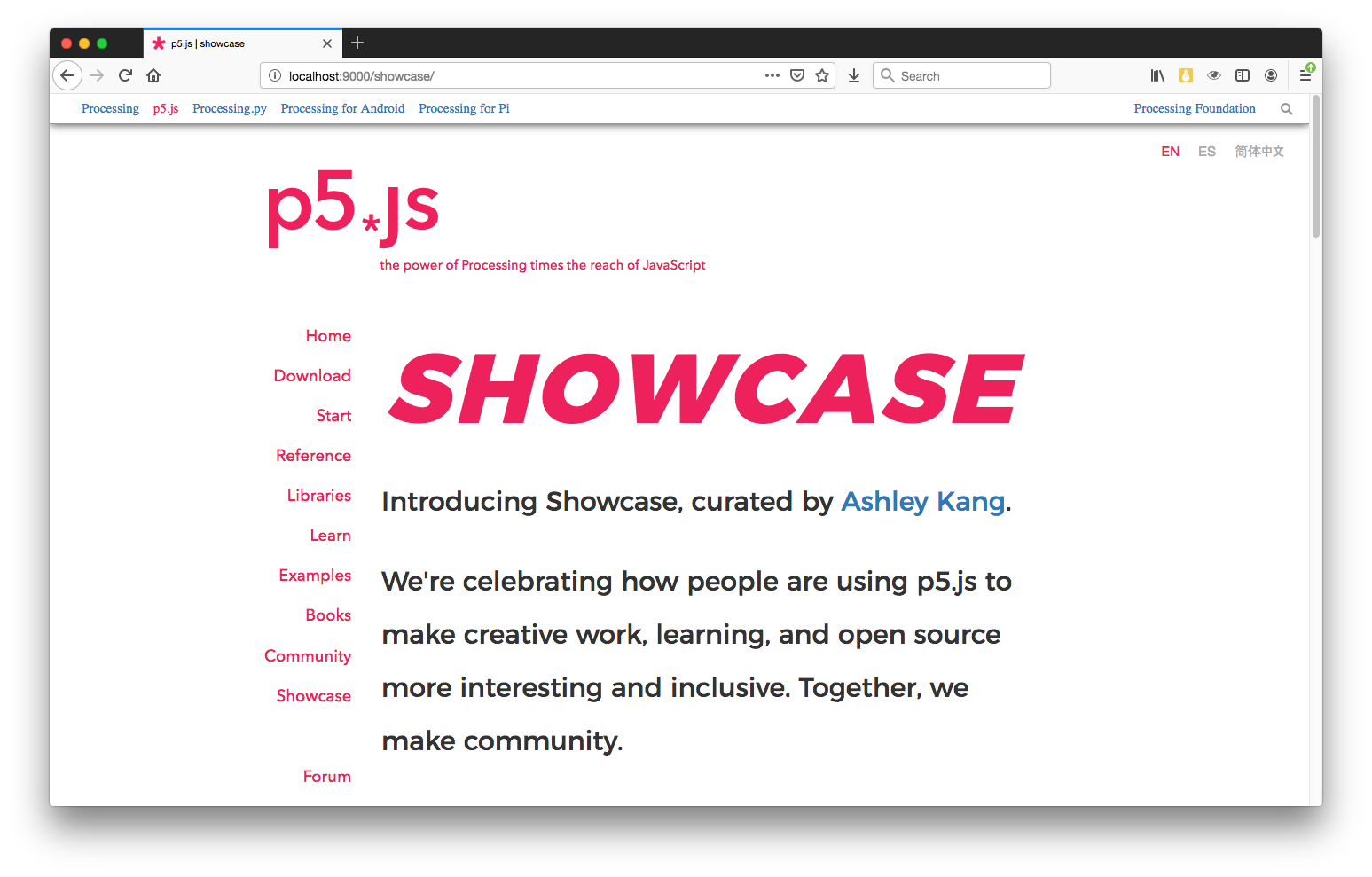 A screenshot of the new Showcase page on p5js.org.