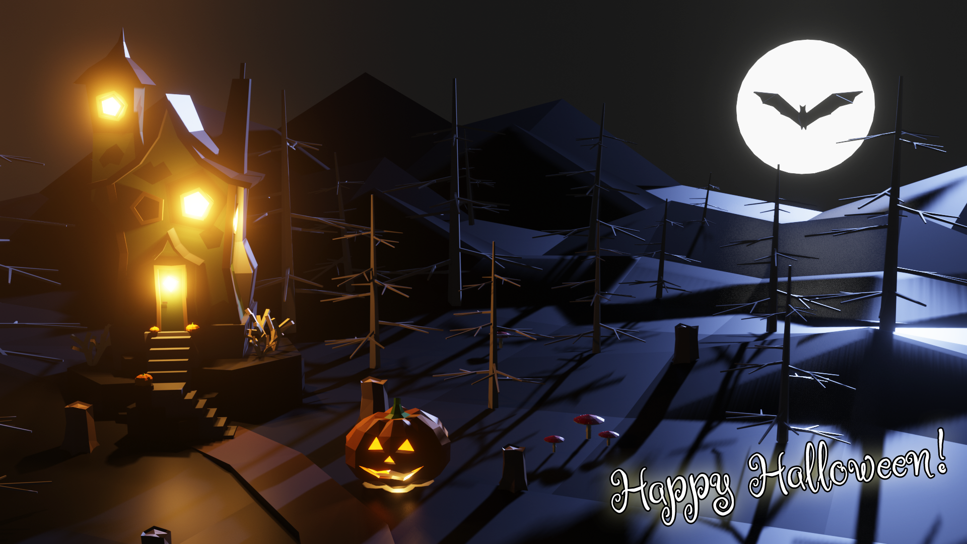 An image of a low poly Halloween scene with a haunted house, dead trees, and a pumpkin.