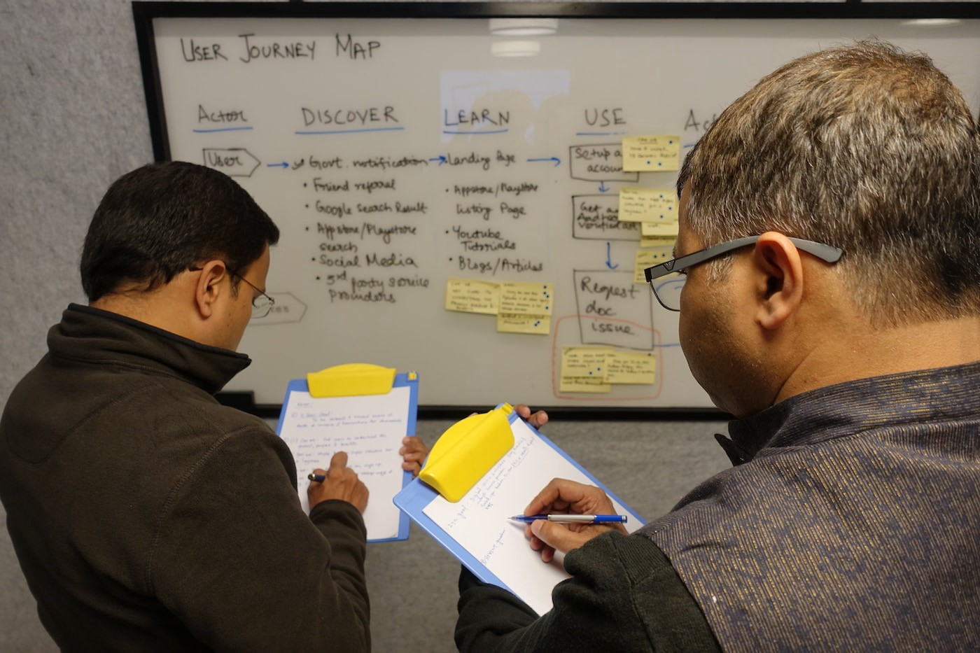 2 people with clipboards looking at a user journey map during a Design Sprint