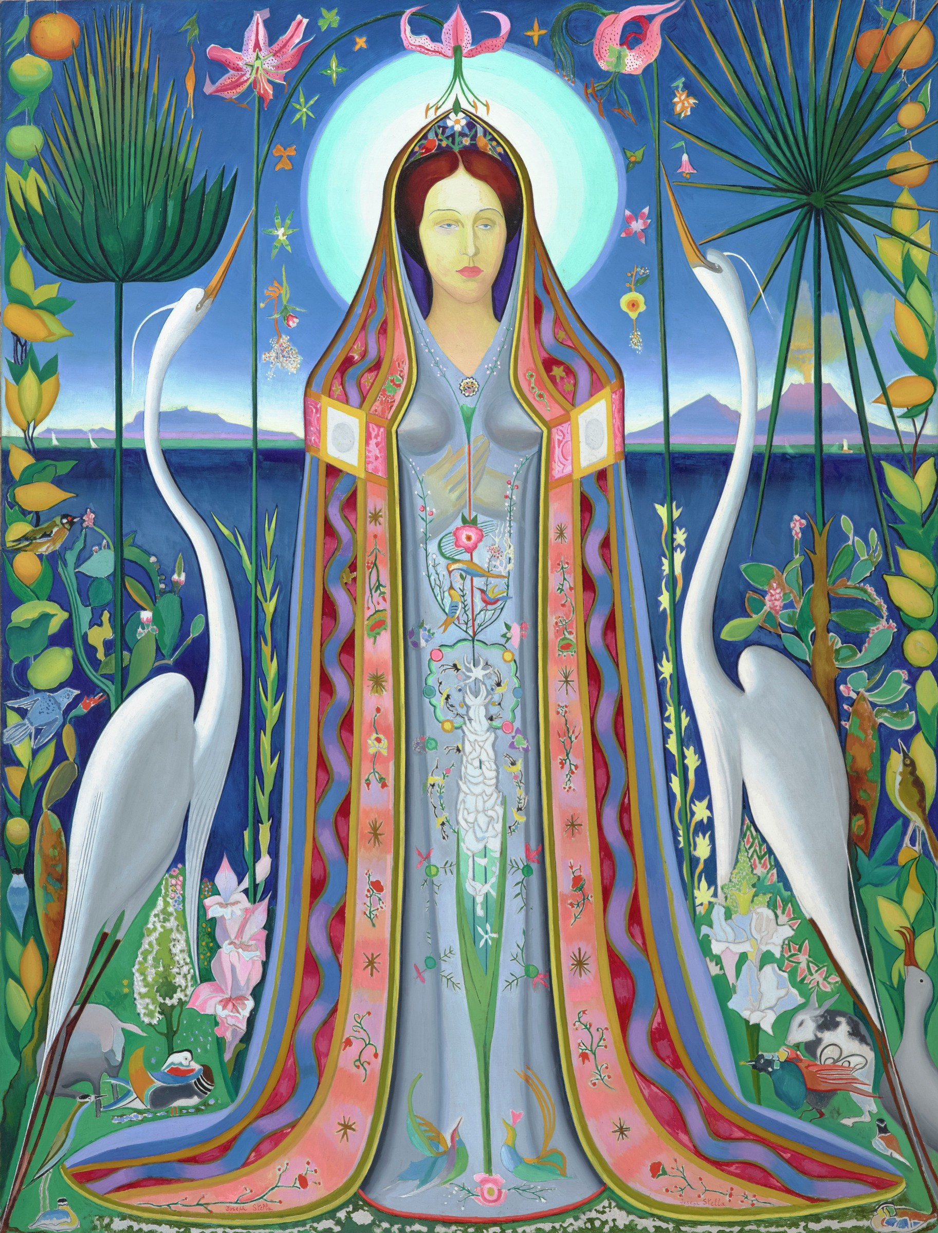 Vibrant painting of a saintly figure surrounded by a bounty of mountains, animals, and vegetation.