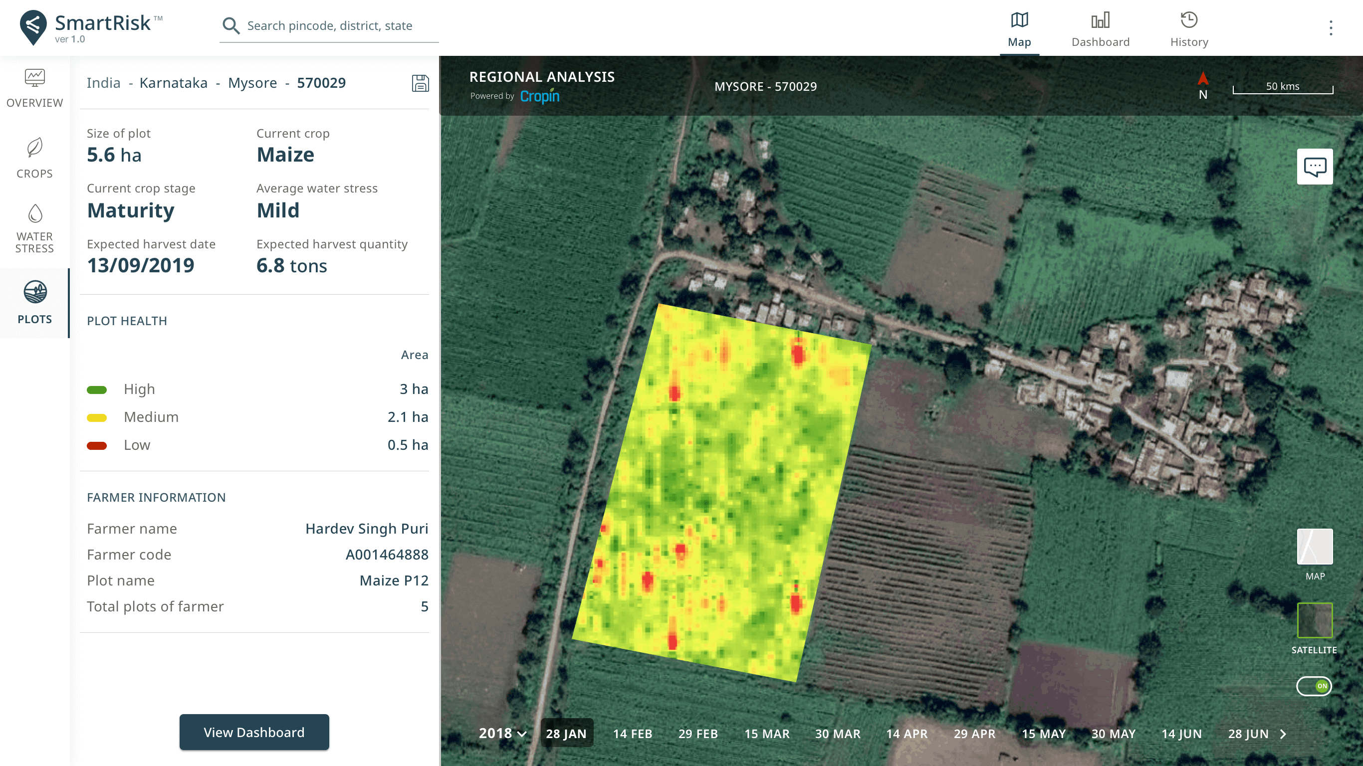 Representative image of SmartRisk's web dashboard depecting the satellite image of  the health of crop under cultivation