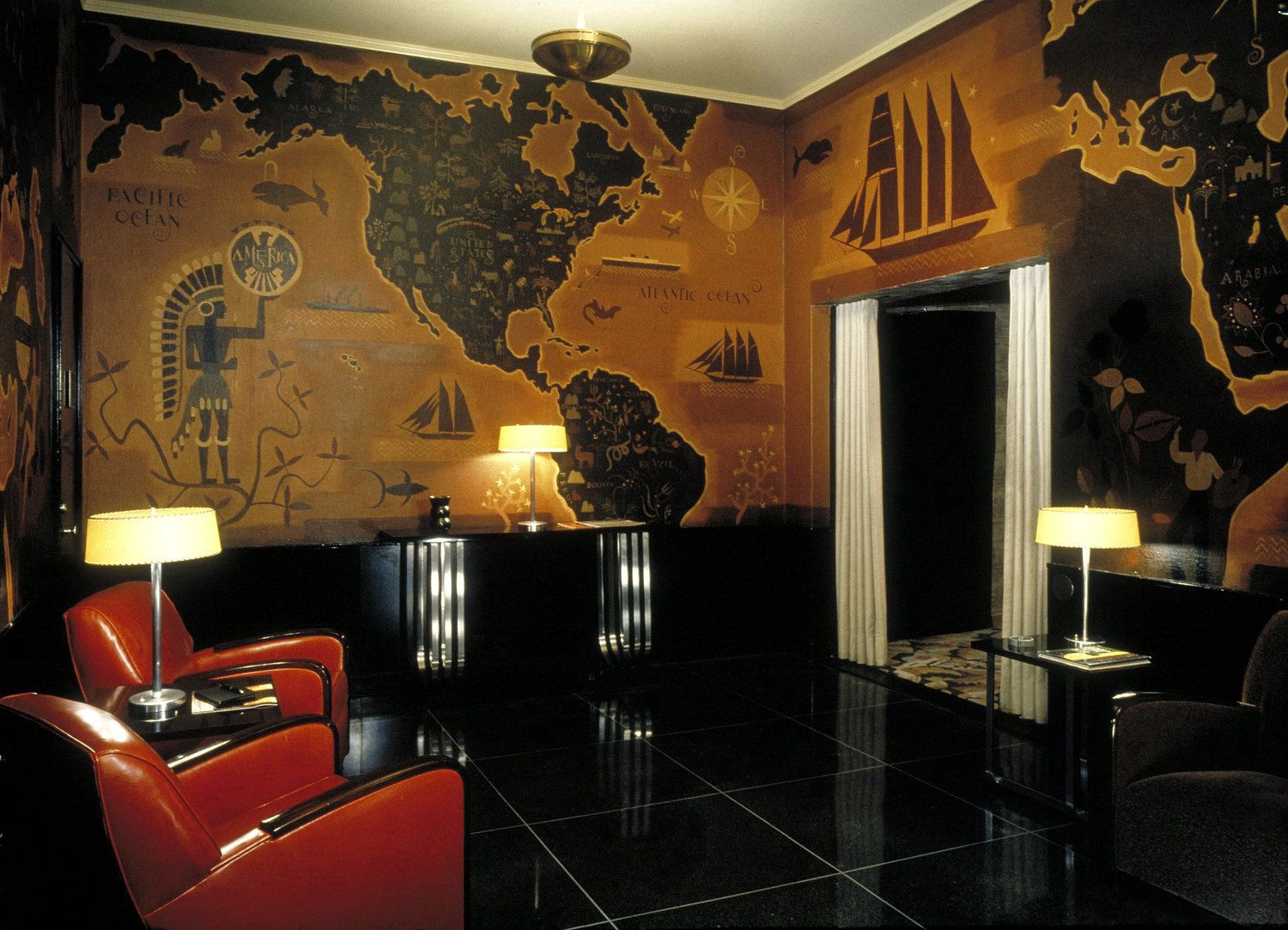 "(Jones Architecture via pinterest.ca profile.) ""Maps of the World"" by Witold Gordon is located in the first mezzanine."