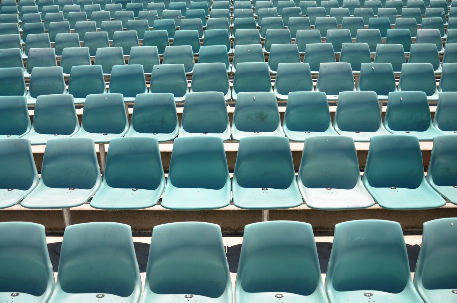 Rows of identical blue chairs