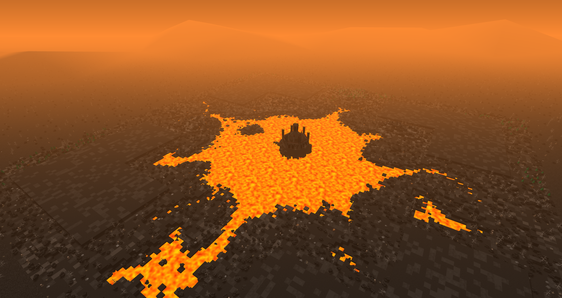 An image of a volcanic map I made for my indie game. You can see a big lava lake with a dark castle in the middle.