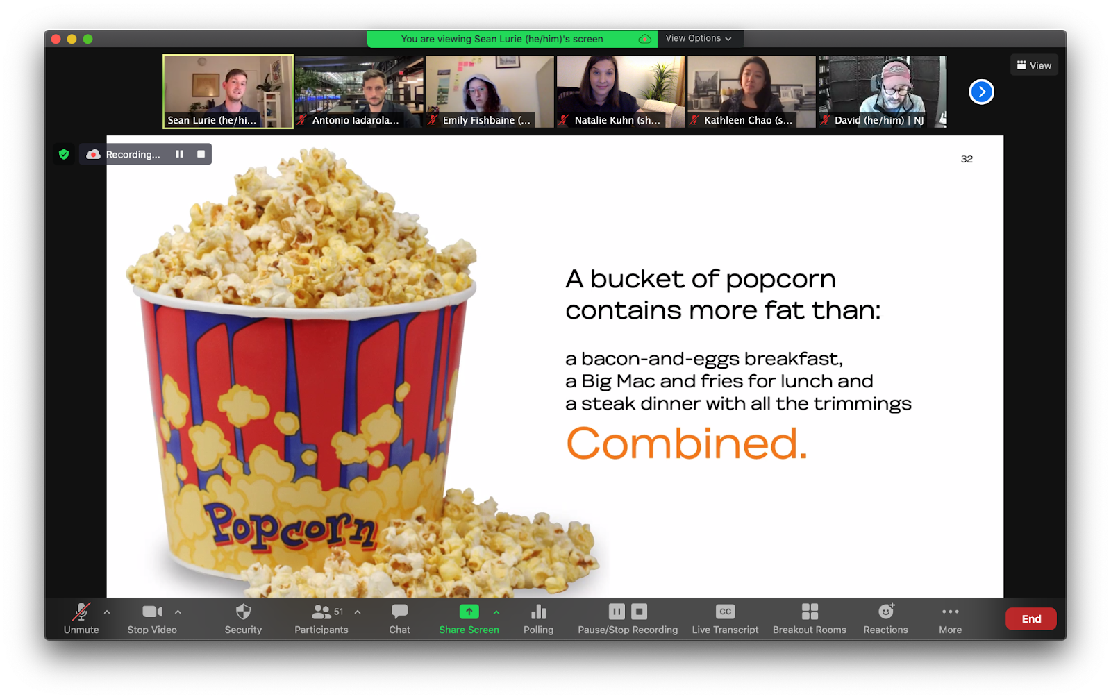 """Zoom screenshot of a bucket of popcorn with the headline: """"A bucket of popcorn contains more fat than a bacon-and-eggs breakfast, a big Mac and fries for lunch, and a steak dinner with all the trimmings combined."""""""