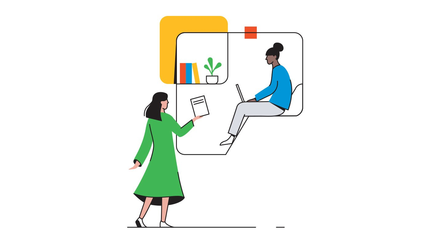 Illustration of two makers collaborating.
