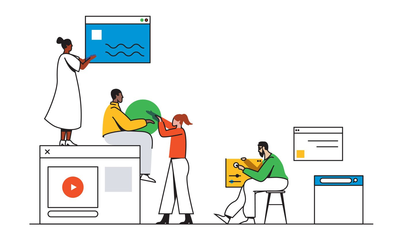 Illustration of makers collaborating on projects building digital products.