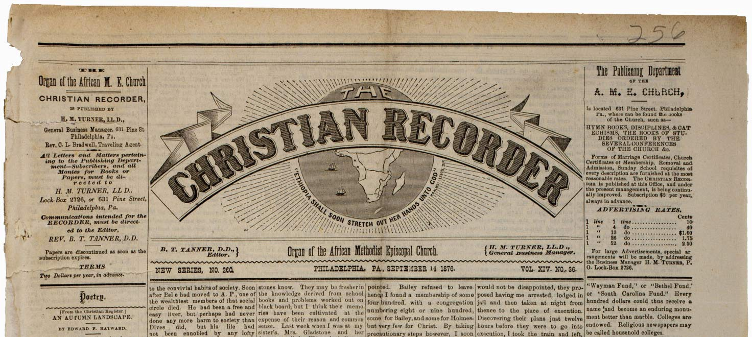 Masthead of The weekly Christian Recorder newspaper.