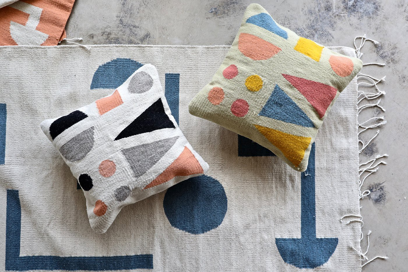 Nåde's geometric textiles are made by Mexican artisans. (Photo: Maggie Pate, The New Mediterranean)
