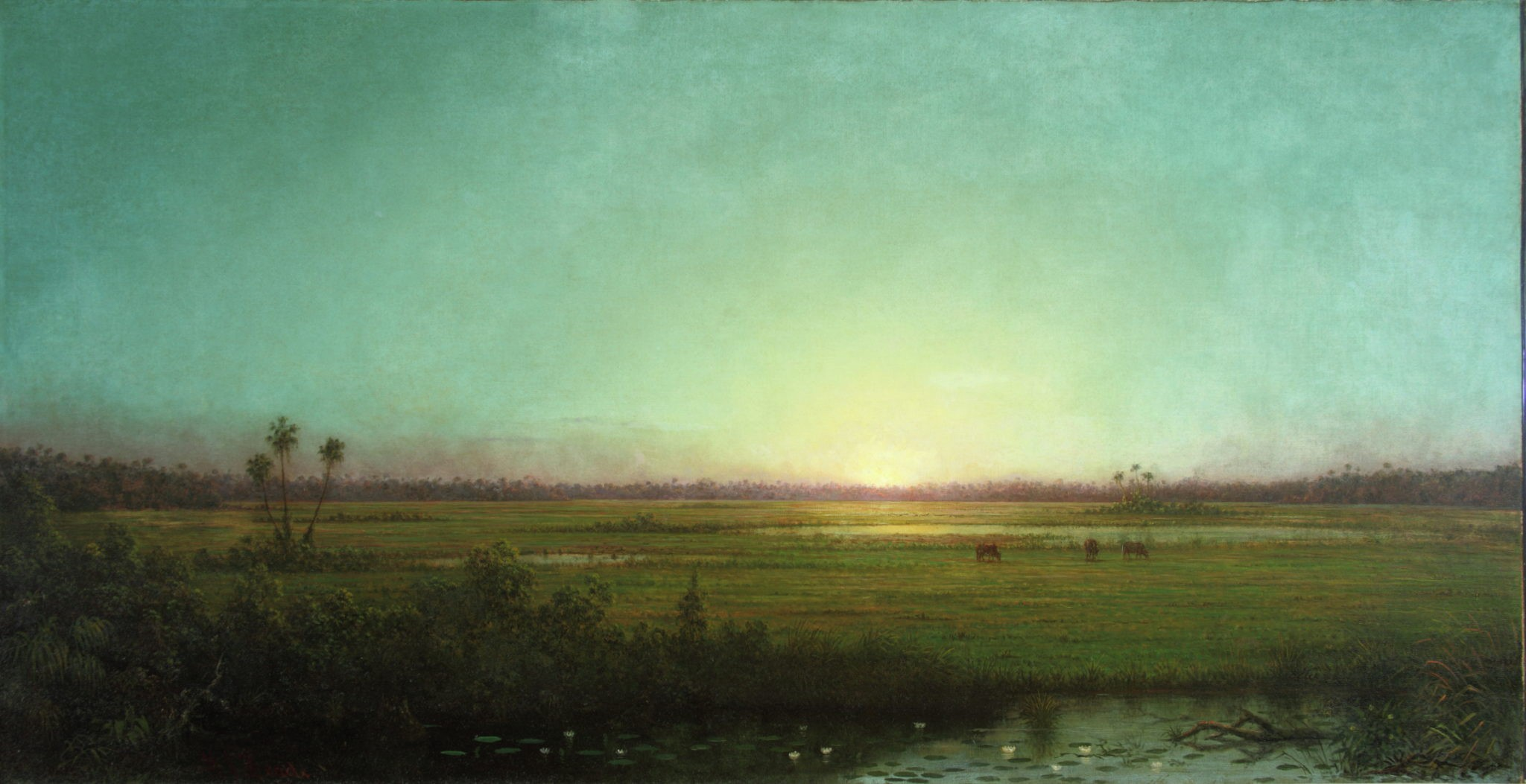 Painting of a flat landscape in blues and greens with a yellow sun at the horizon.