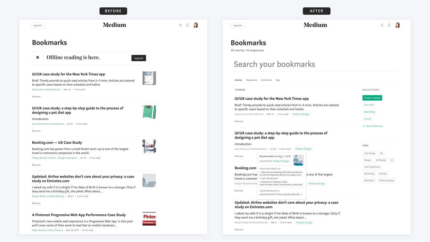 Medium Bookmarks Feature A Ux Case Study By Cathy Heng Ux Collective