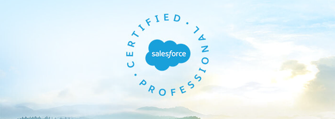 Salesforce Certified Professional logo on a cloudy sky background with mountain tops visible at the bottom of the picture.