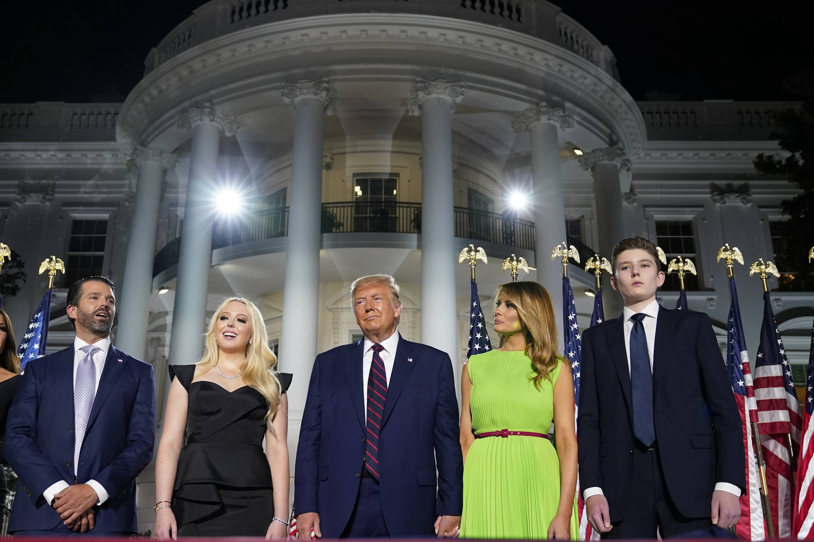 The Trump Family Looming in front of the White House after the final night of the RNC