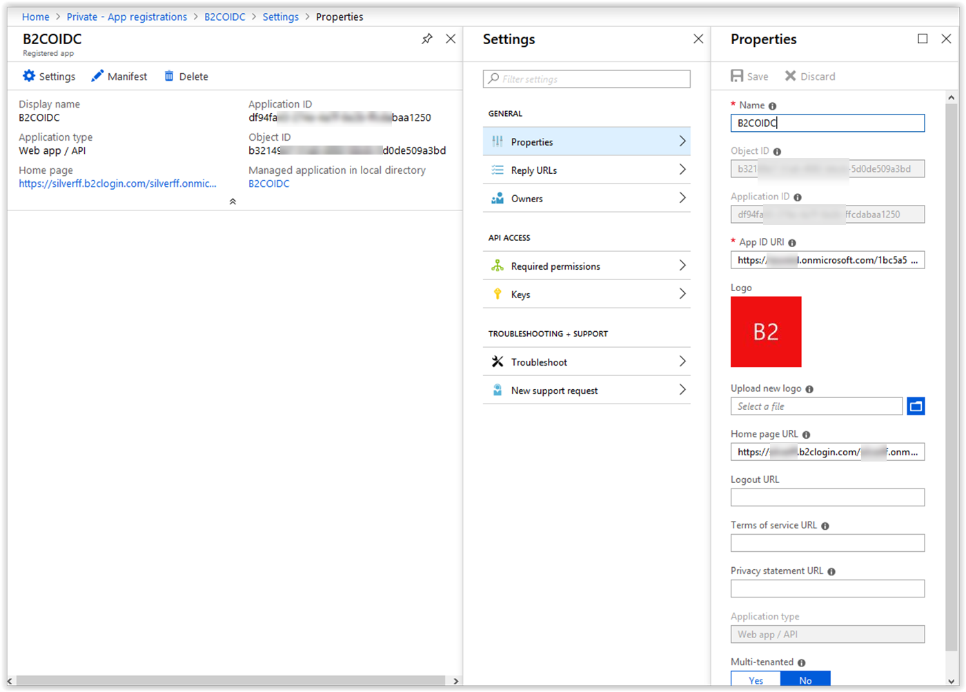 Connecting Azure AD B2C to Azure AD via the B2C custom