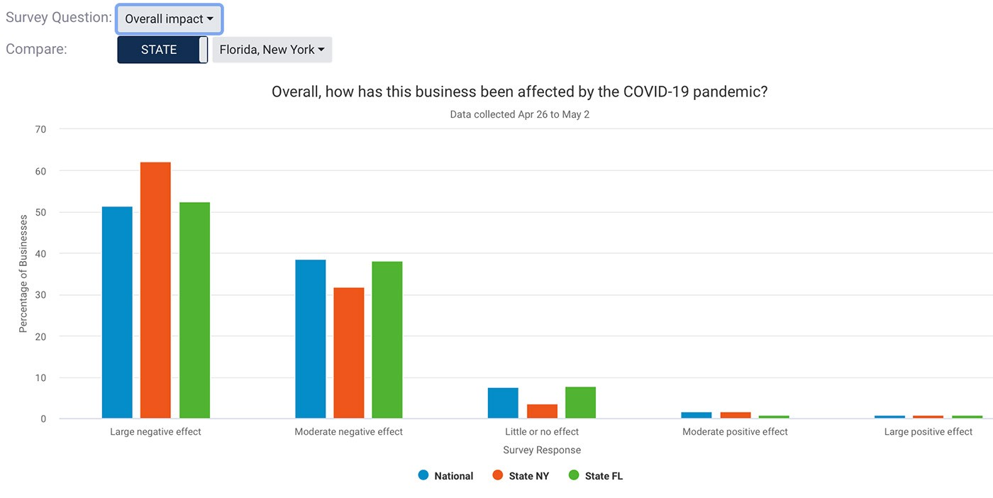 Chart showing NY and FL based small businesses. NY felt more large impact, while FL felt more moderate impact.