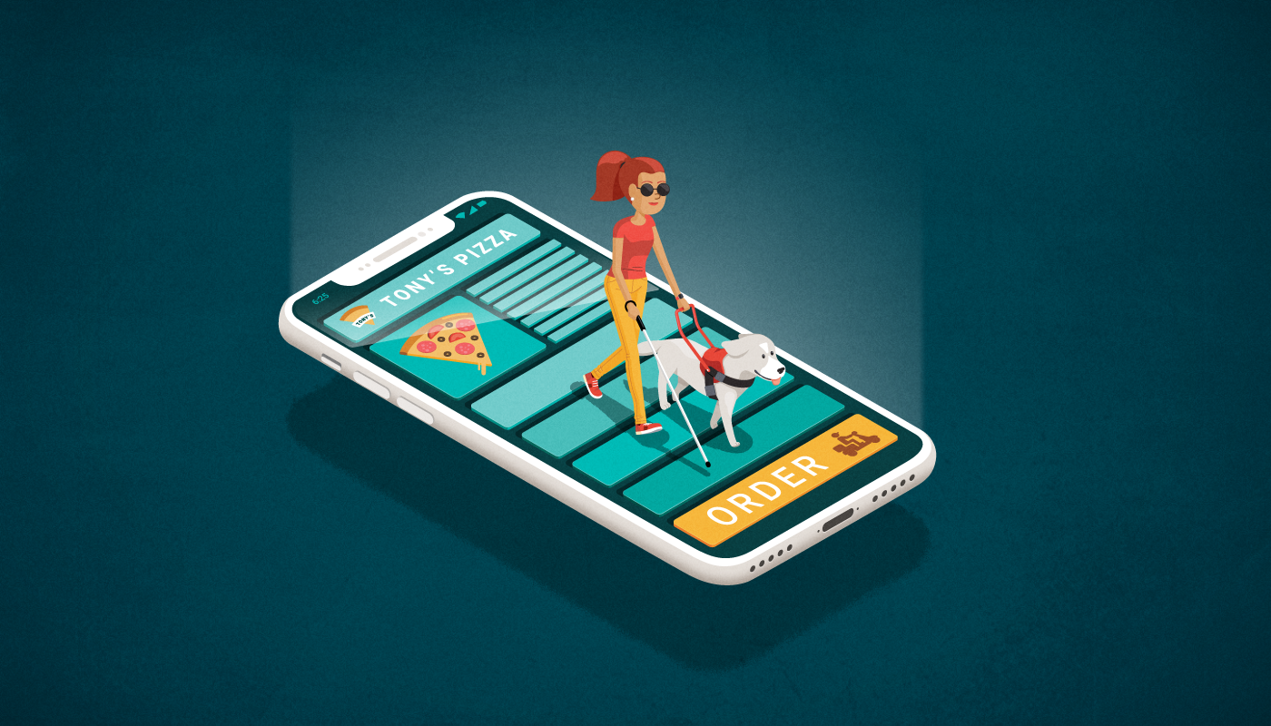 A blind woman with dog trying to order pizza on an accessibility mobile application.