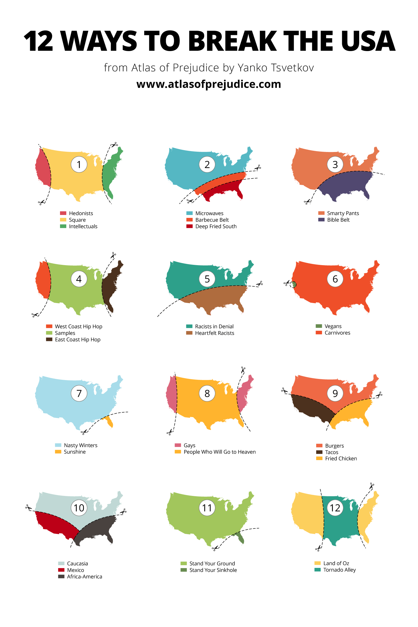 12 Ways to Break the USA - Atlas of Prejudice Deep South Usa Map on
