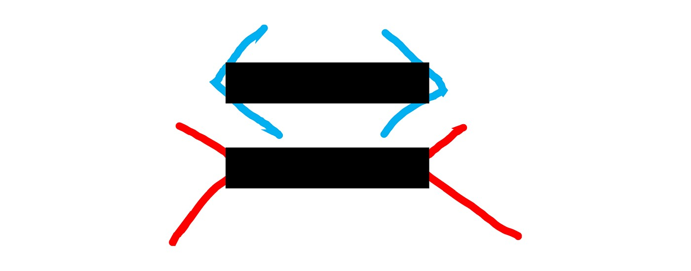 Equal sign with handwritten arrows to make the well-known optical illusion of the lines of equal length