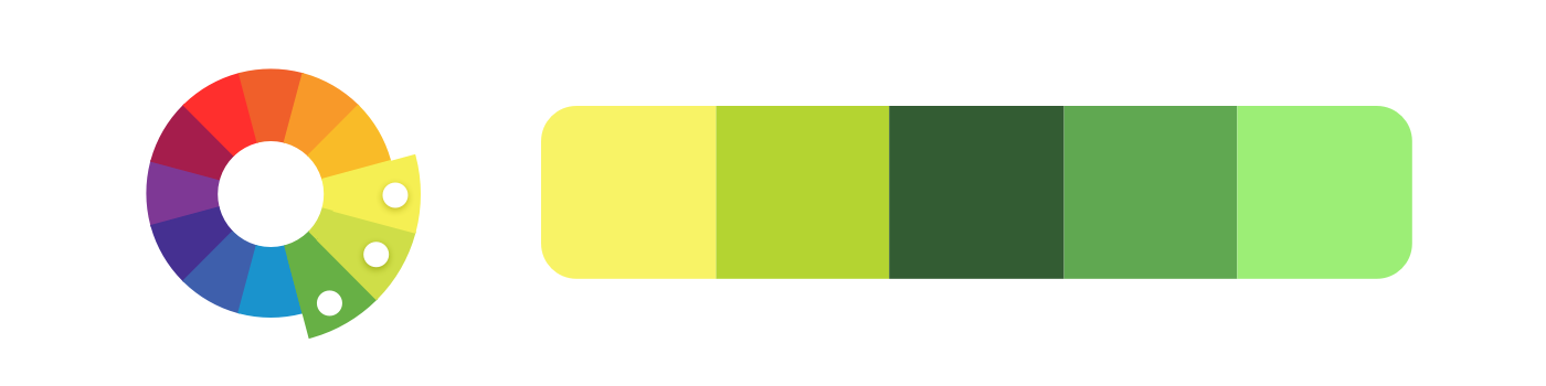 Analogous example: a color palette created from yellow, yellow-green, and green.