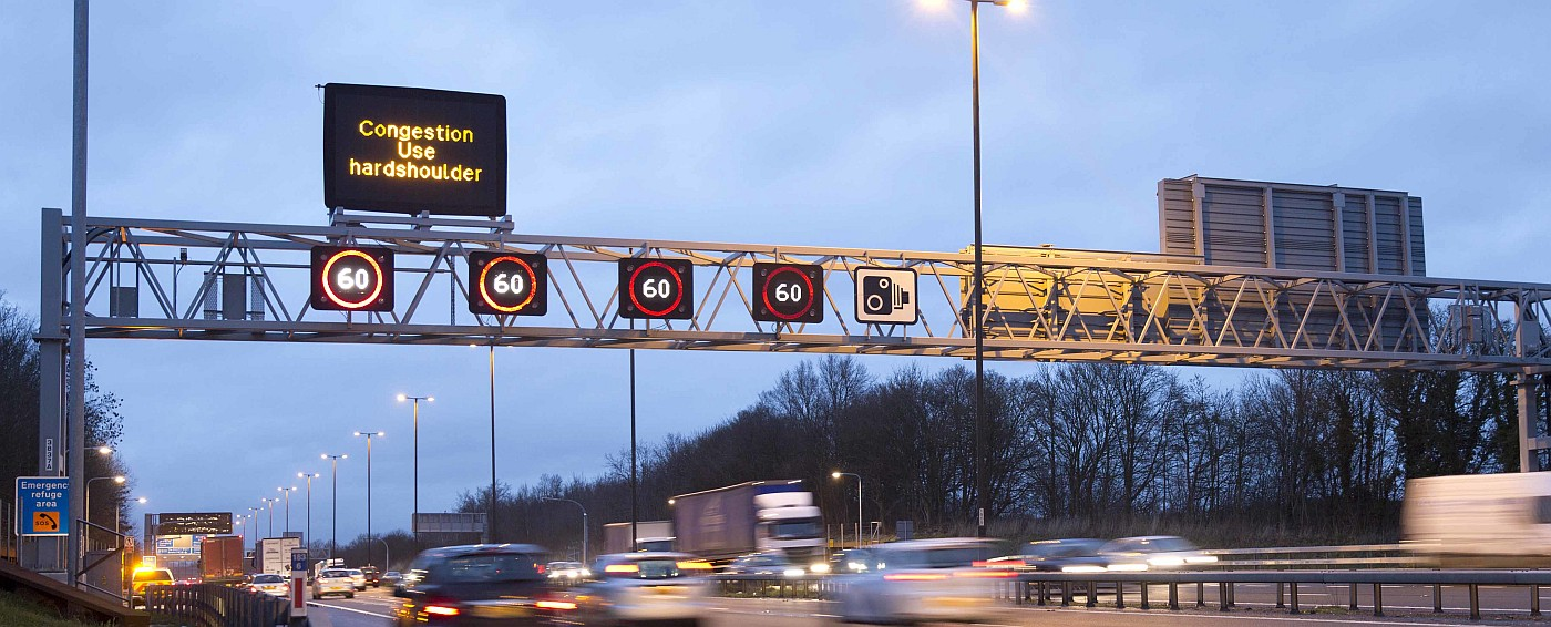 A gantry above a smart motorway in the UK