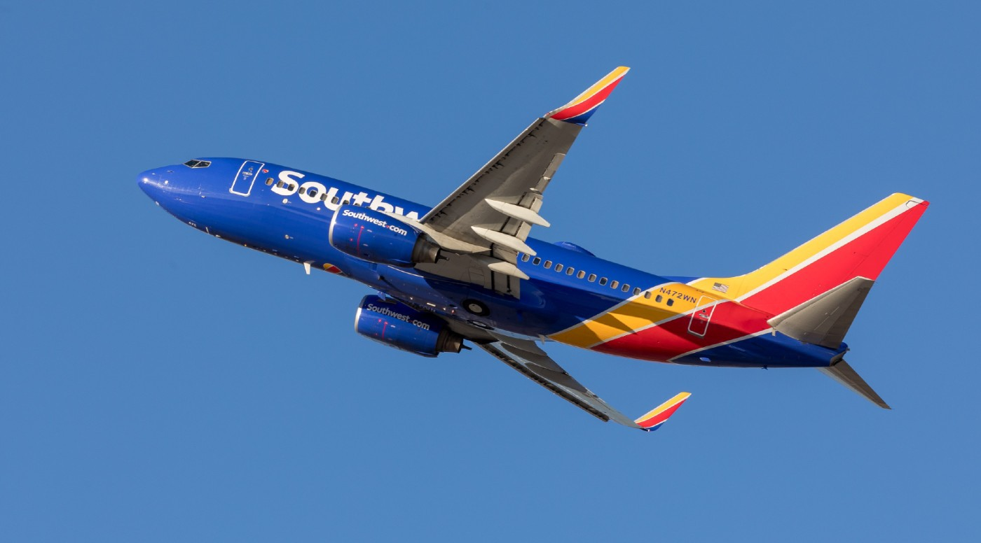 A Southwest airplane in the sky