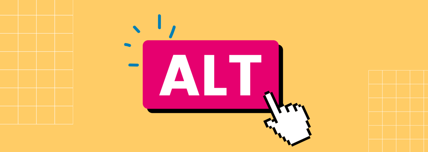 """A pink """"alt"""" button with a cursor hovering it."""