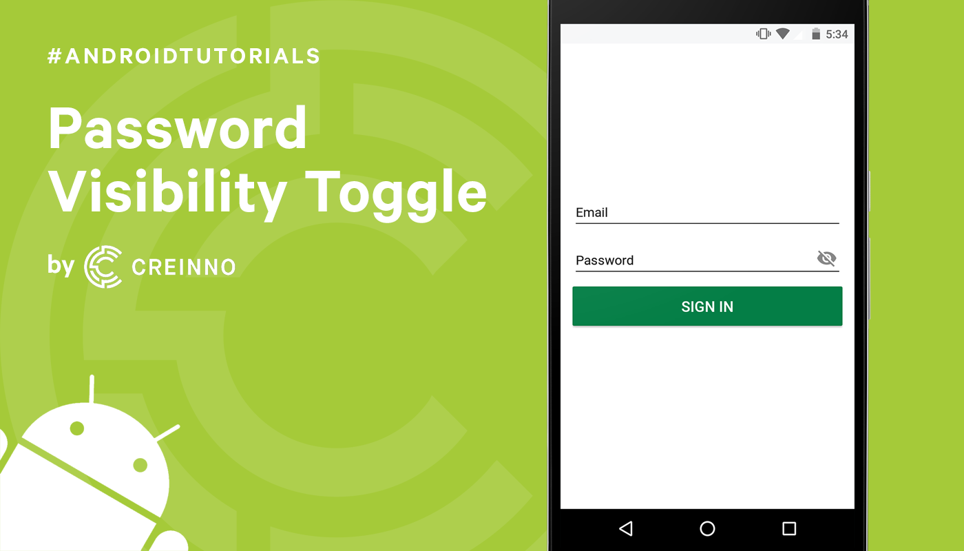 Password Visibility Toggle #AndroidTutorials - Creinno