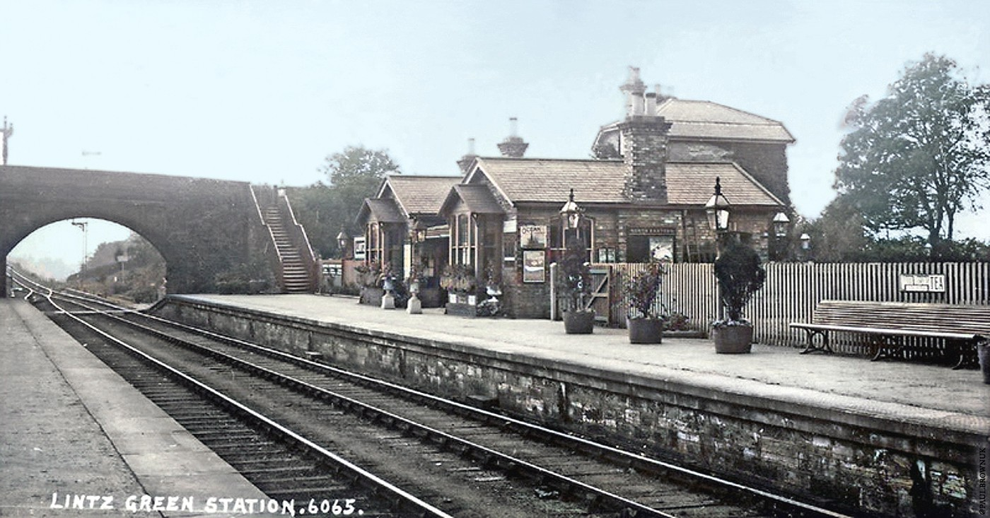 Lintz Green Station, stationmaster's house visible behind office and waiting room, postcard c.1910 / Paul Brown