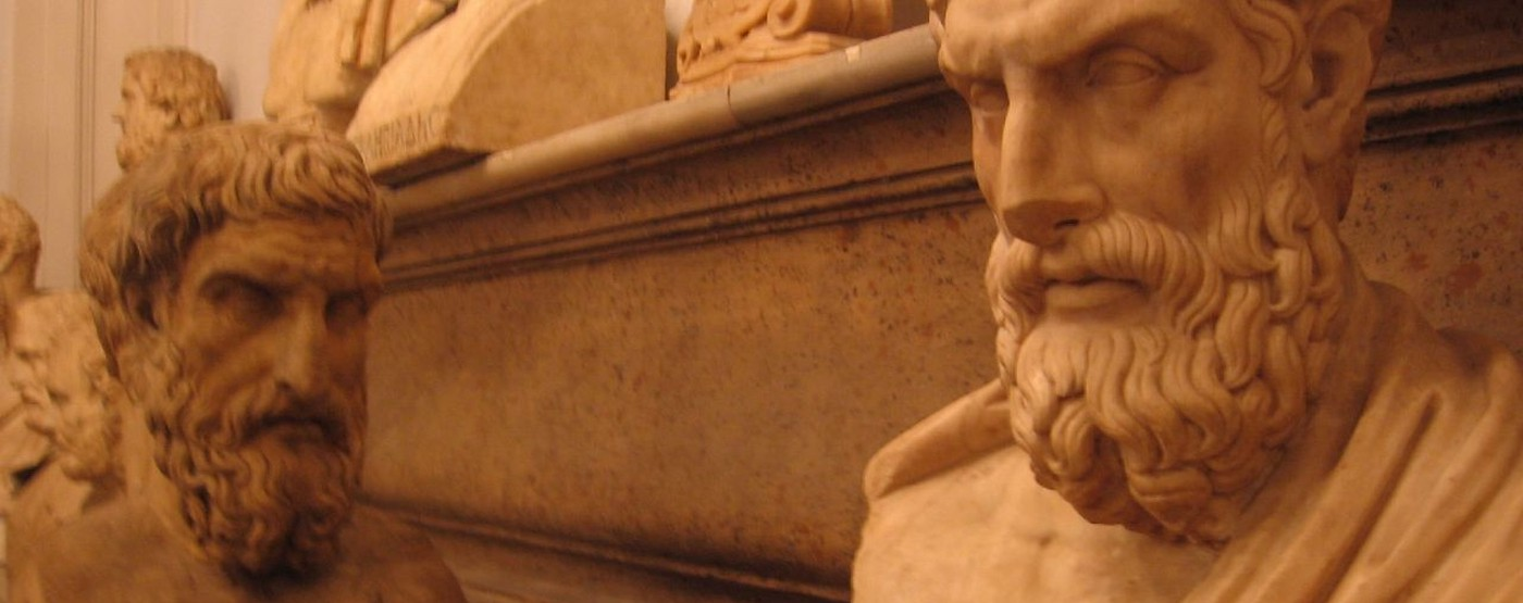 Two busts of Epicurus