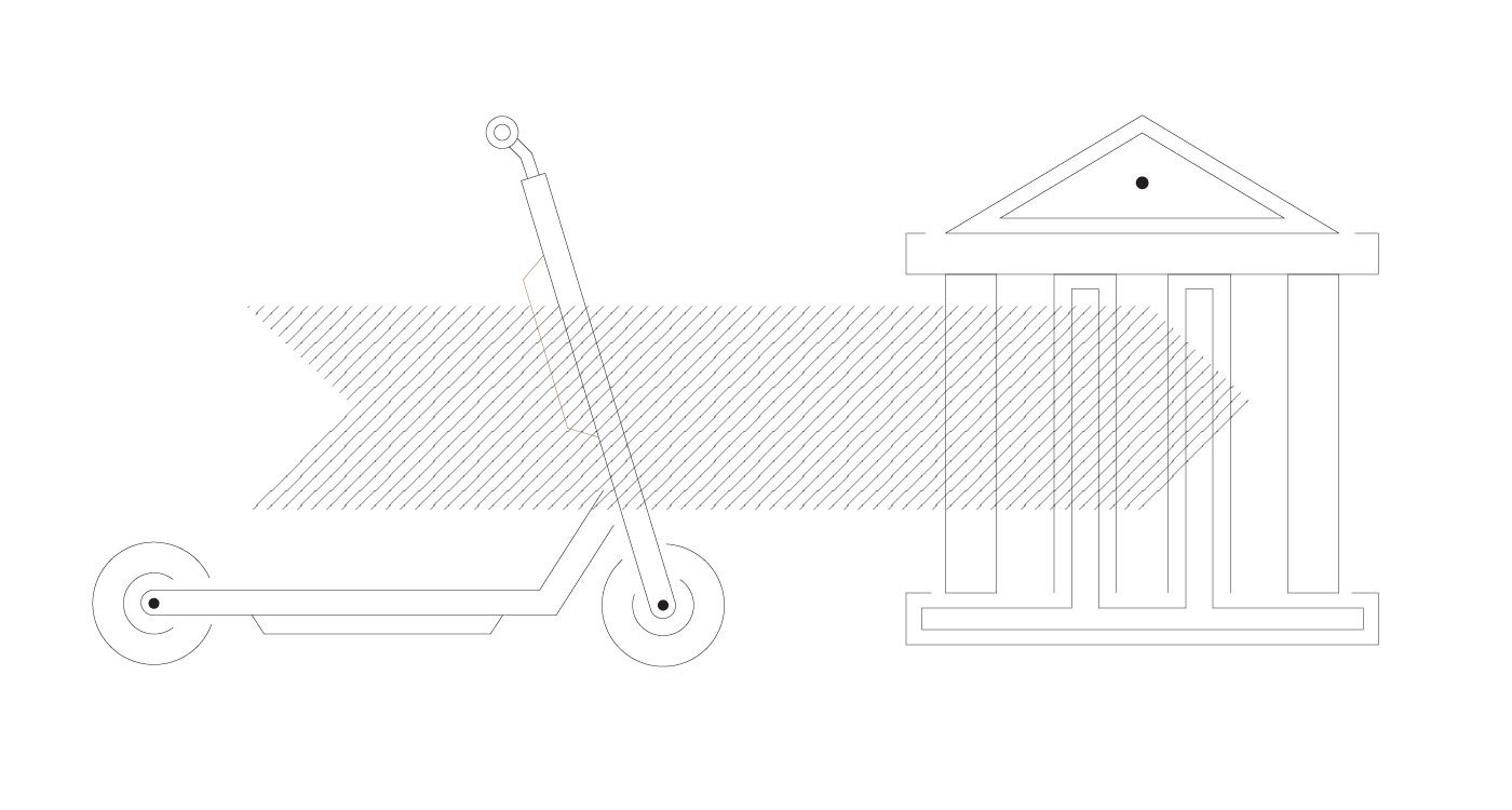 A light graphic of a scooter and an arrow pointing to a city hall