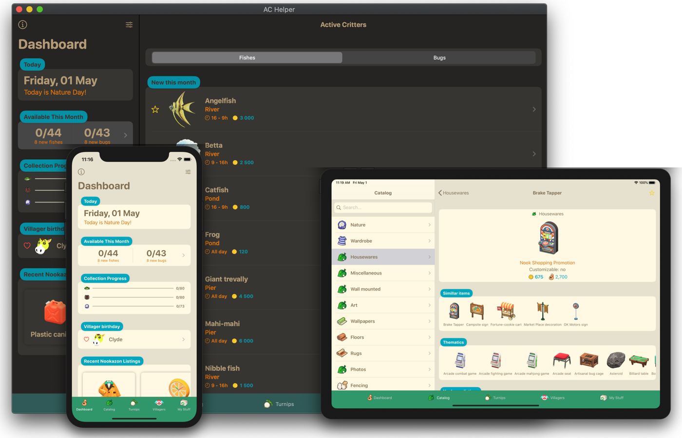 Promo image consisting of screenshot of iPhone, iPad and Mac version of the app