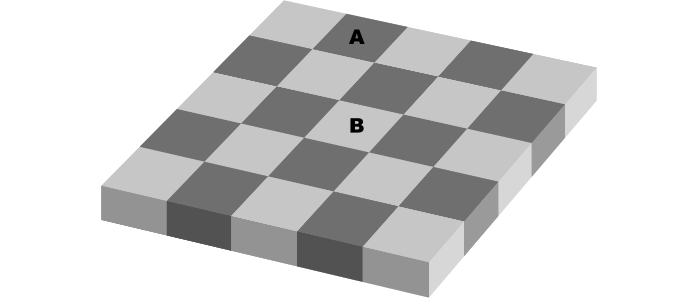 A checkerboard of dark and light squares. Square A is darker than Square B.
