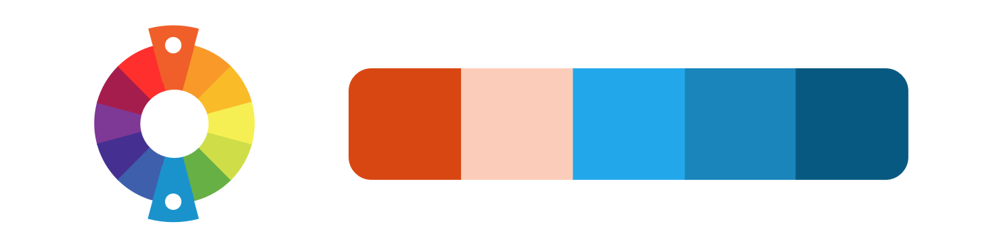 Complementary example: a color palette created from red-orange and sky blue.