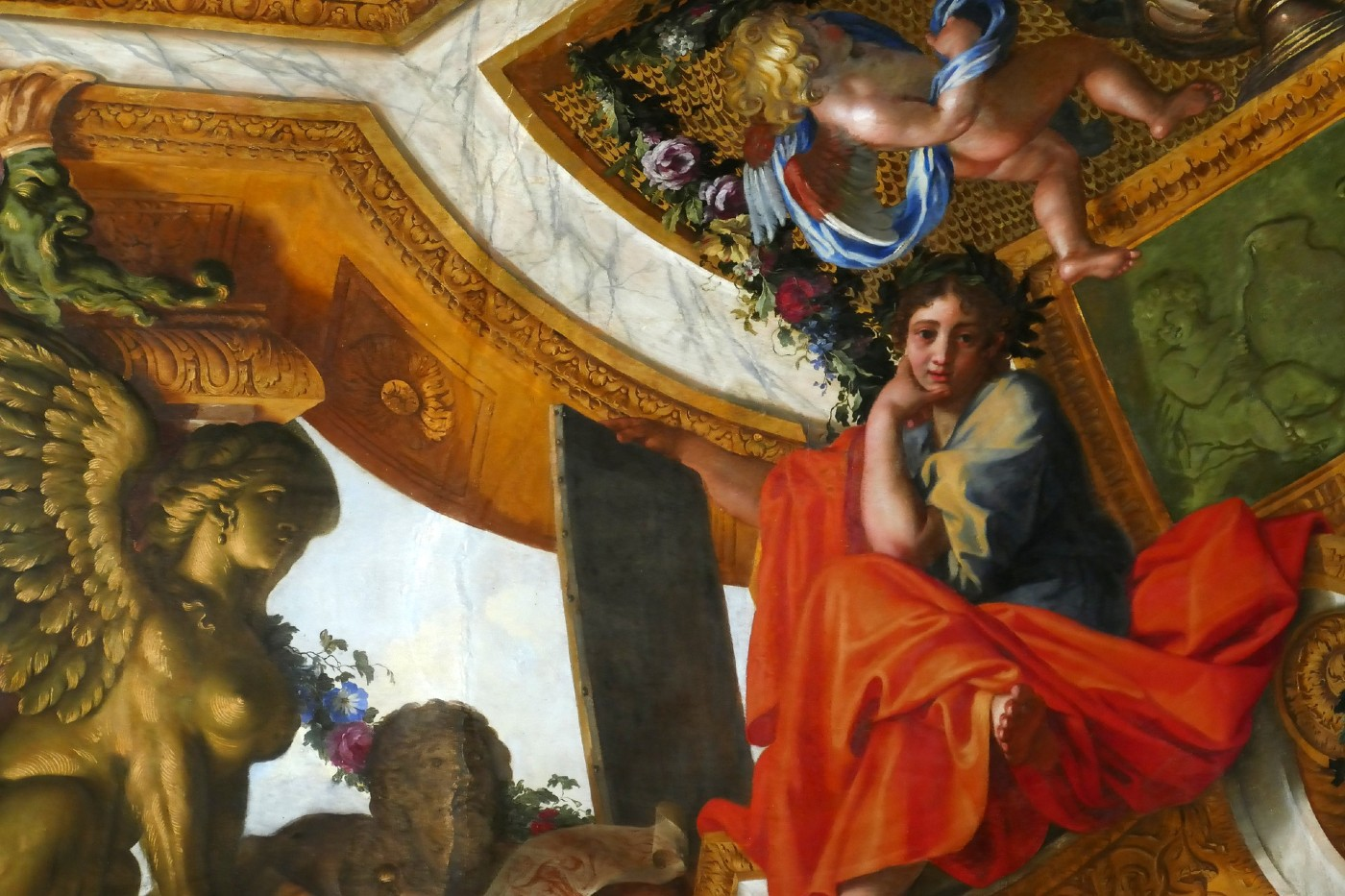 The muse Polyhymnia painted by Charles Le Brun at the Château de Vaux-le-Vicomte.