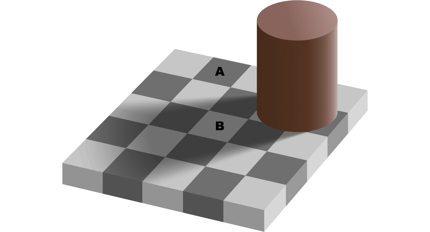 Square A appears darker than Square B, but they are exactly the same.