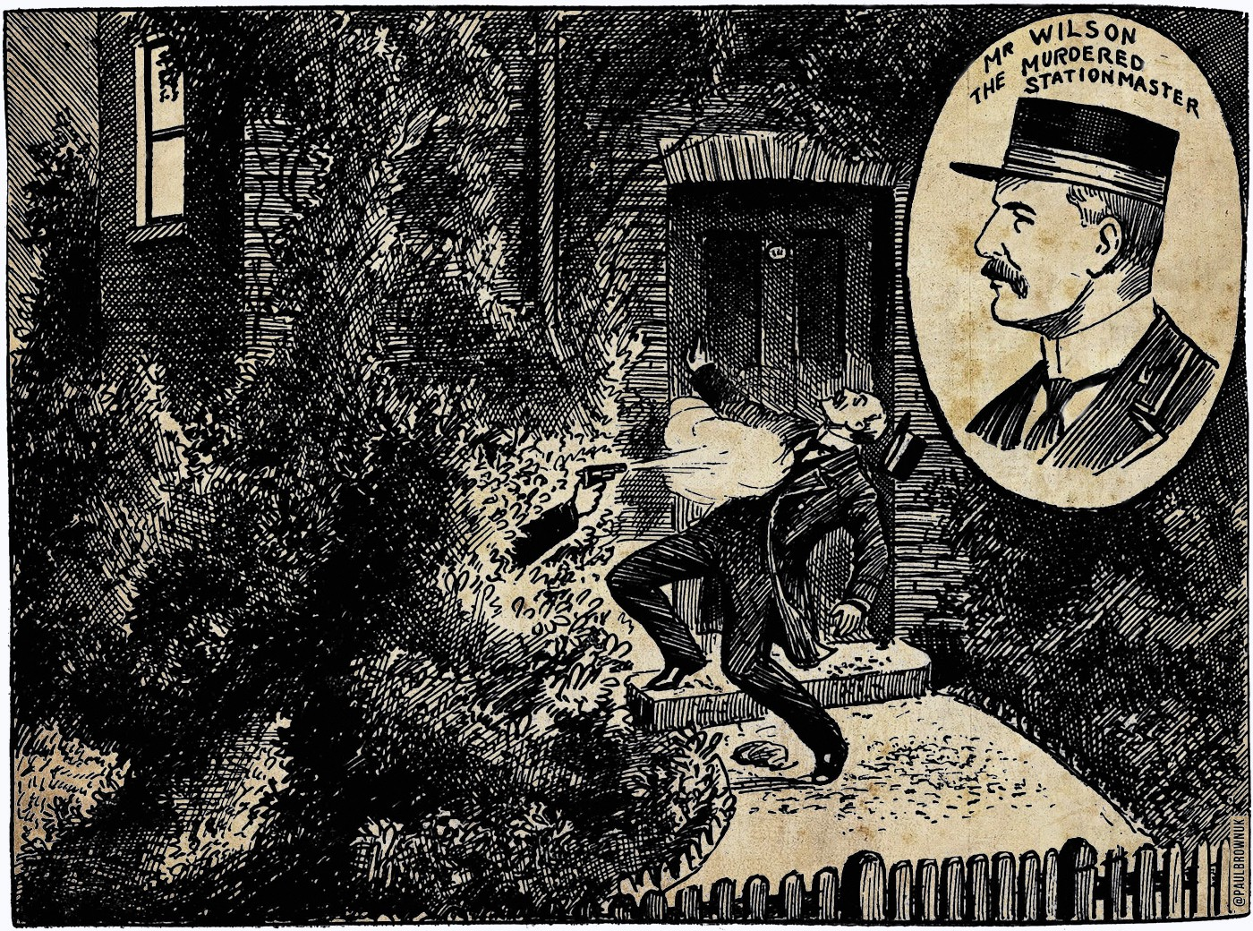 Stationmaster Shot Dead By Mysterious Assassin, Illustrated Police News, 1911 / Paul Brown