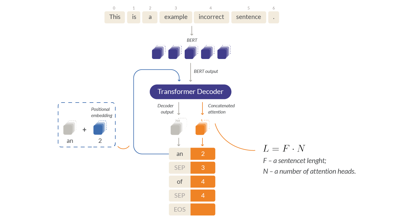 An advanced model for GEC tasks using the Transformer Decoder to predict suggestions for errors.